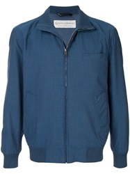 Gieves And Hawkes Tonal Stripe Bomber Jacket Blue