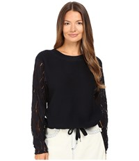 See By Chloe Lacy Jersey With Drawstring Accents Navy