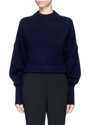 Tibi Pleated Balloon Sleeve Cashmere Sweater Blue