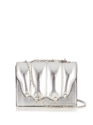 Marco De Vincenzo Paw Effect Leather Cross Body Bag Silver