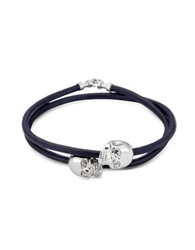 Northskull Navy Blue Leather W Rhodium Skull Double Wrap Bracelet