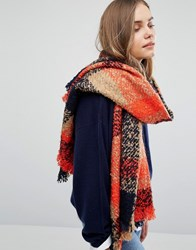 Oasis Boucle Check Scarf Navy Orange Multi