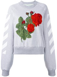 Off White Rose Patch Jumper Grey