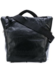 Dsquared2 Sporty Shopping Tote Men Cotton Linen Flax Polyurethane Polyimide One Size Black