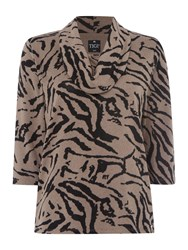 Tigi Cowl Neck Print Jumper Brown