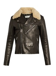 Balenciaga Shearling Collar Biker Jacket Black