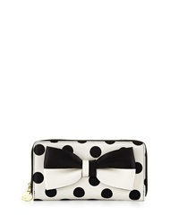 Betsey Johnson Gift Me Baby Bow Polka Dot Wallet On String Cream Black