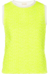 Giambattista Valli Neon Tweed Paneled Jersey Top Yellow
