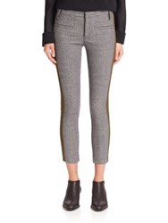 Haider Ackermann Wool And Leather Skinny Cropped Pants Grey