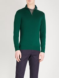 Gieves And Hawkes Quarter Zip Wool Jumper Dark Green