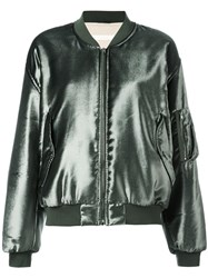 Ssheena Silk Bomber Jacket Green