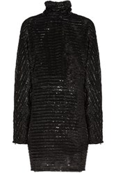 Mcq By Alexander Mcqueen Tinsel Embellished Tulle Turtleneck Mini Dress Black