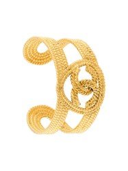 Chanel Vintage Braided Logo Cuff Metallic