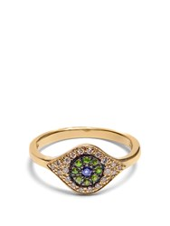 Ileana Makri Diamond Sapphire Tsavorite And Yellow Gold Ring