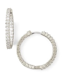25Mm White Gold Diamond Hoop Earrings 1.53Ct Roberto Coin Red