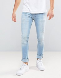 Religion Jeans In Super Skinny Stretch Fit With Distressing Tyburn Blue