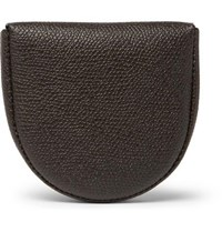 Valextra Tallone Pebble Grain Leather Coin Wallet Dark Brown