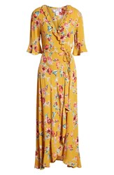 Band Of Gypsies Hudson Floral Print Maxi Wrap Dress Gold Red