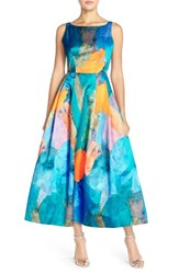 Women's Milly Floral Print Open Back Gown