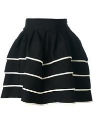 Fausto Puglisi Striped Short Full Skirt Black