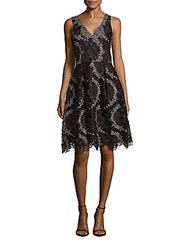 Kay Unger Lace Embroidered Dress Black