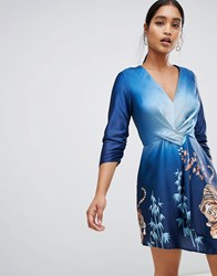 Liquorish Ombre Tiger Print Dress Blue