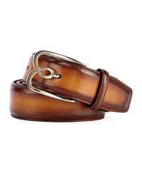 Berluti Metal Logo Leather Belt Tobacco