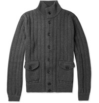 Dolce And Gabbana Ribbed Knit Wool Cardigan