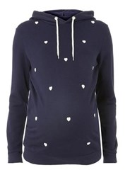 Dorothy Perkins Maternity Navy Cotton Heart Motif Hoodie Blue