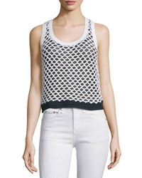 Rag And Bone Taryn Crocheted Colorblock Tank Black White Black White