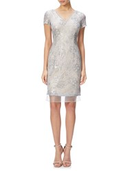 Adrianna Papell Sequin Lace And Organza Cap Sleeve Cocktail Dress Silver Nude