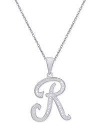 Macy's Diamond Accent Script Initial Pendant Necklace In Sterling Silver