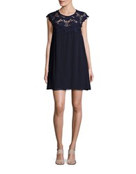 Jessica Simpson Lace Trimmed Shift Dress Navy