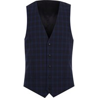 River Island Navy Check Suit Waistcoat