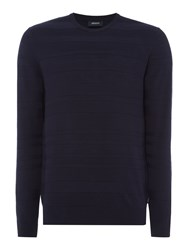 Armani Jeans Men's Signature Script Logo Crew Neck Jumper Navy