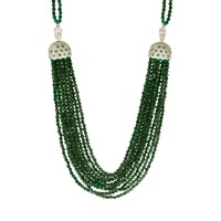 Latelita London Cascading Tassel Statement Necklace Silver Green Onyx Green Silver