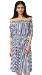 Mds Stripes Slim Smocked Dress Blue White Stripe