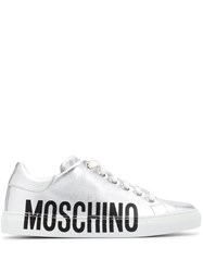 Moschino Leather Metallic Sneakers Silver