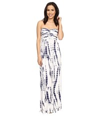 Culture Phit Liliana Maxi Dress White Navy Tie Dye Women's Dress