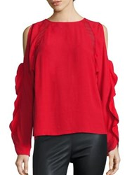Chelsea And Walker Caroll Cold Shoulder Ruffle Blouse Lipstick Red