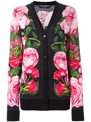 Dolce And Gabbana Floral Patterned Cardigan Black