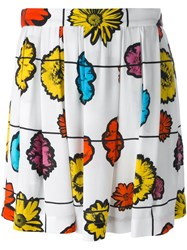 Moschino Floral Print Skirt White