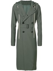 Rick Owens Double Breasted Trench Coat Green