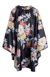 Joules 'S Right As Rain Print Packable Hooded Poncho Navy Whitstable Floral