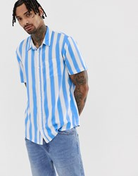 Another Influence Deckchair Stripe Boxy Short Sleeve Shirt White