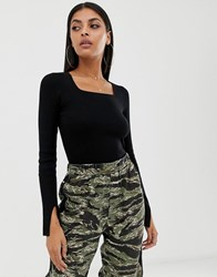 Missguided Square Neck Ribbed Crop Top Black