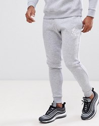 Gym King Skinny Joggers In Grey Marl With Logo