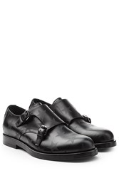 Valentino Star Printed Leather Monk Shoes Black
