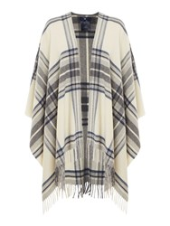 Gant Check Wool Poncho Cream
