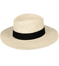 Maison Michel Charles Straw Hat Natural Black